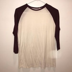 Forever 21 Burgundy & White Baseball T Long Sleeve